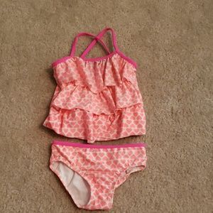 Two piece kids swim suit size 3t heart print